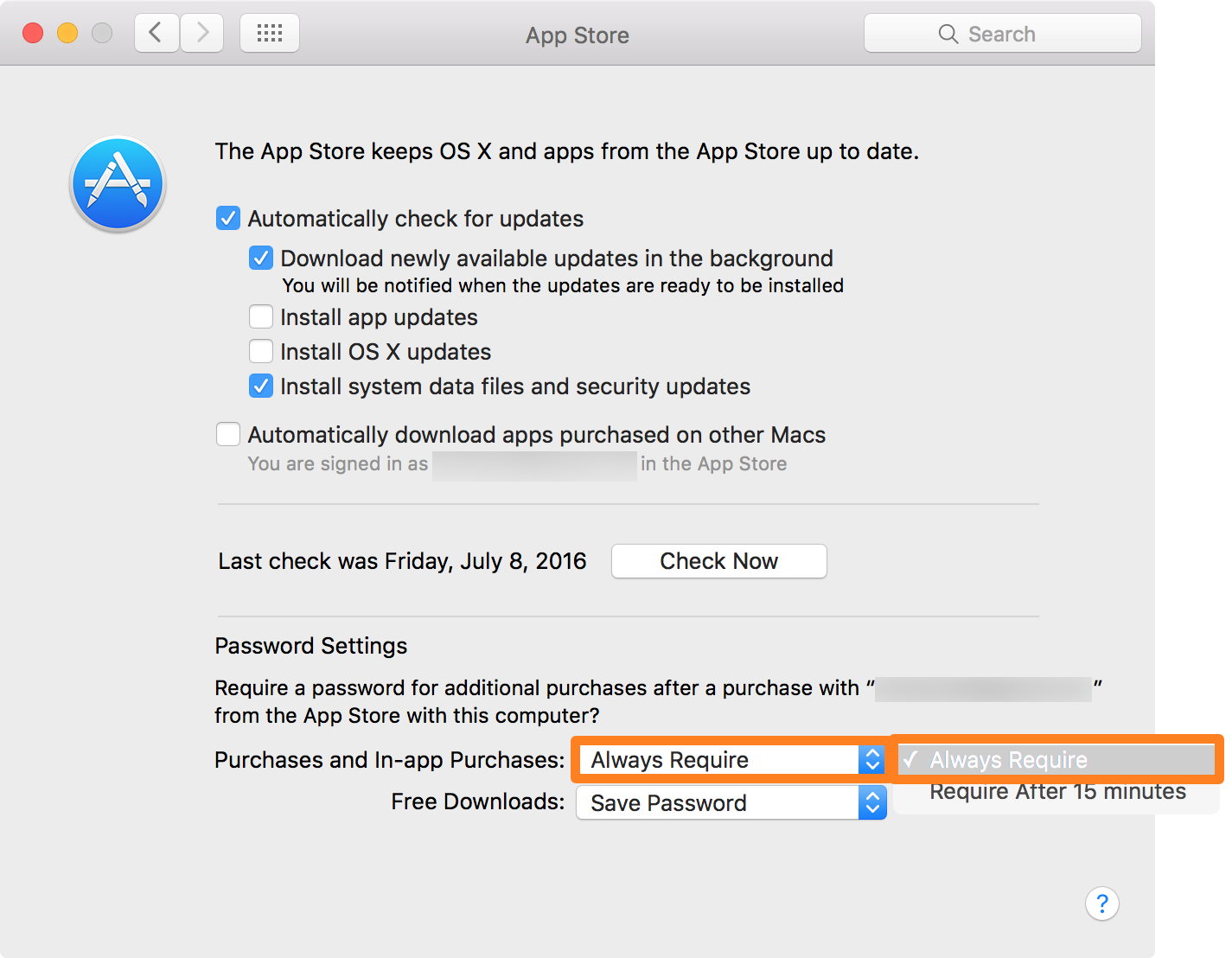 OS X System Preferences Mac App Store Password Settings 2