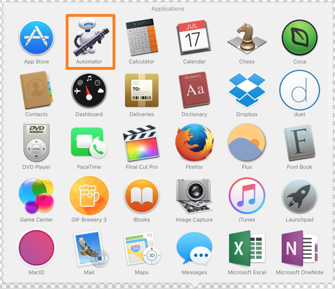 Abre la aplicación Automator en tu Mac