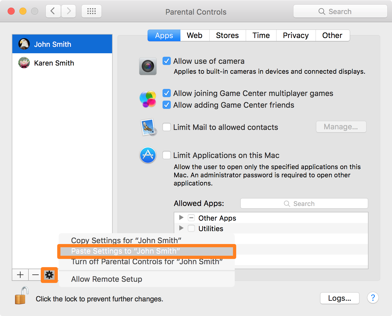 Paste Parental Control Settings to Another User Account Mac