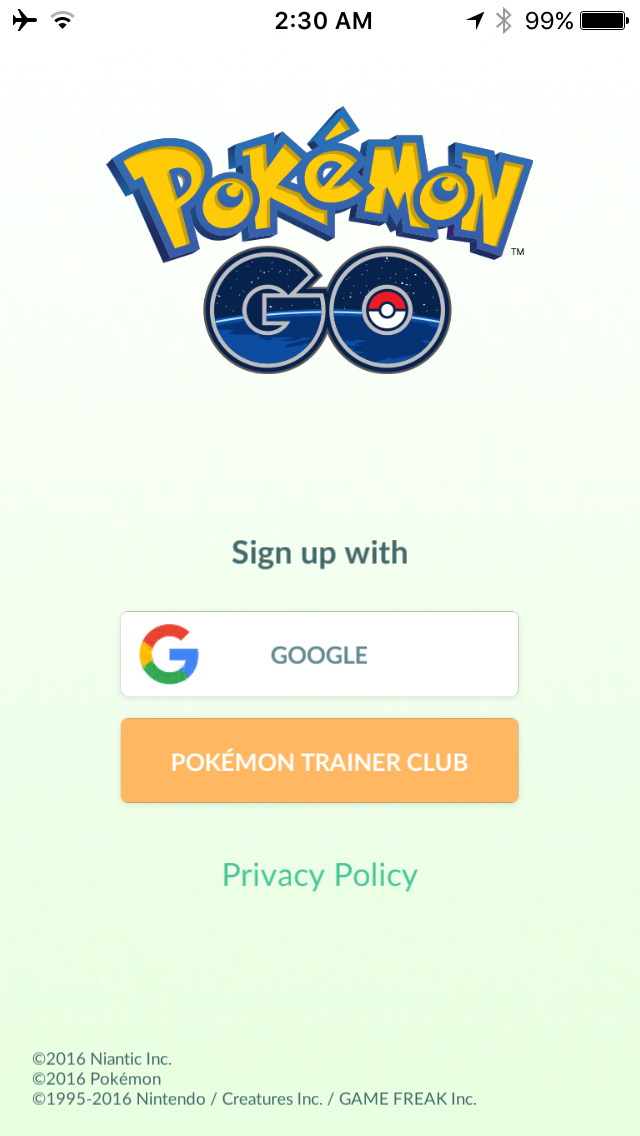Pokemon GO sign in