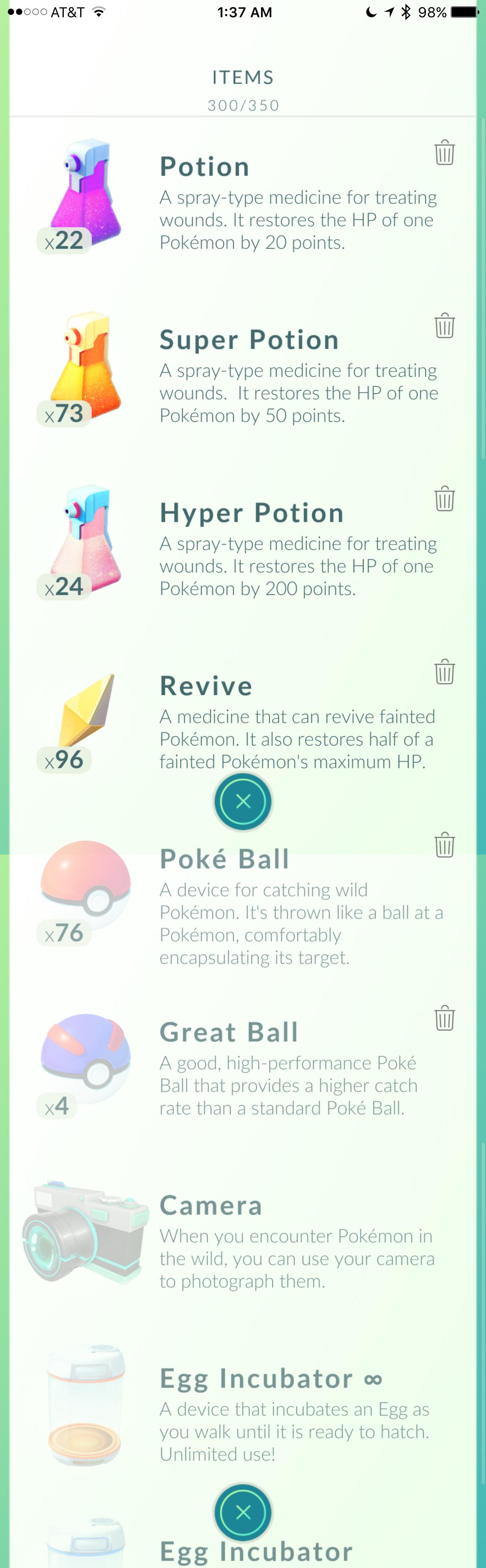 Pokemon items list