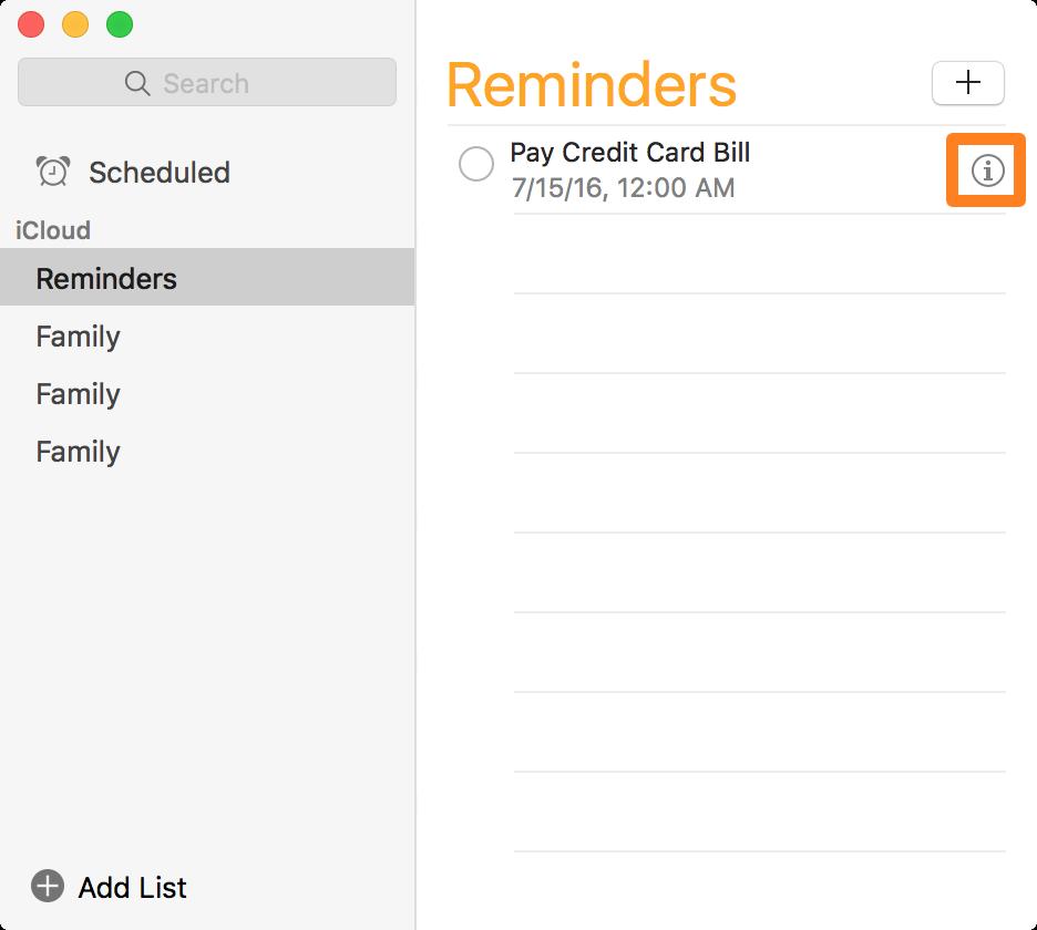 Reminder information button on Mac