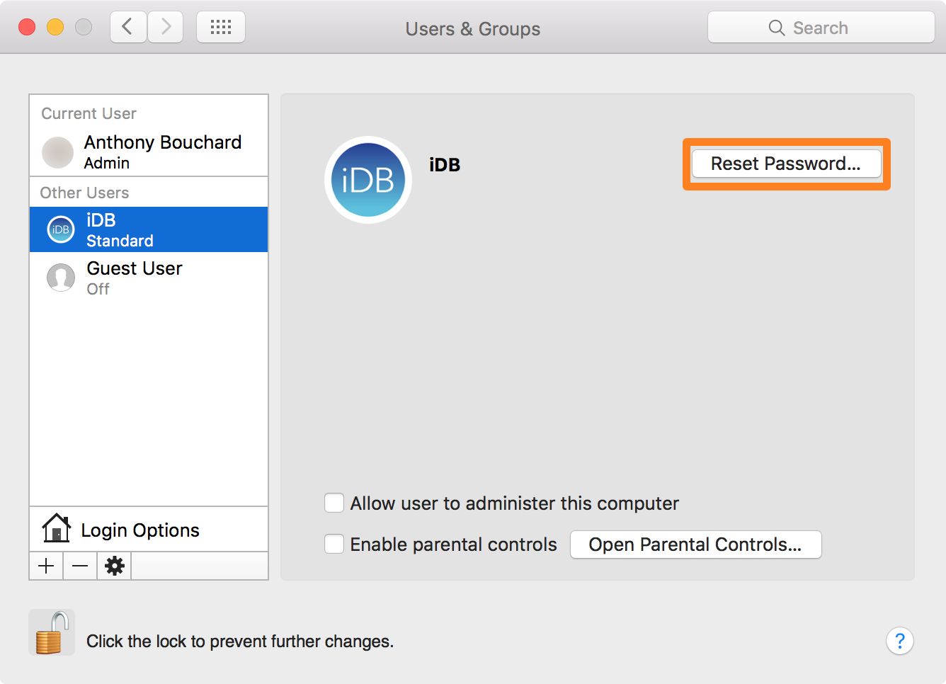 Reset Account Password in OS X