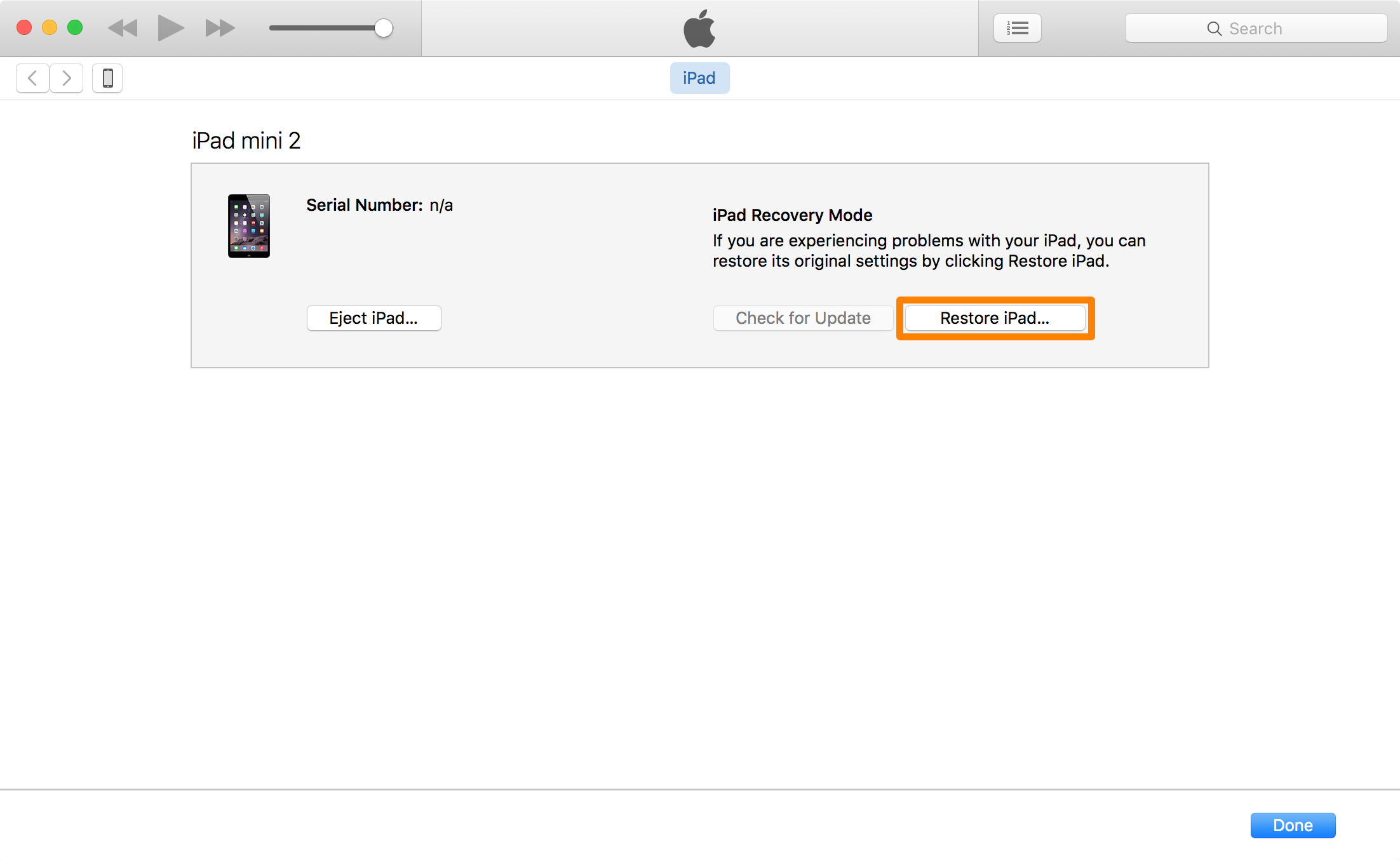 Restore iPad Prompt iTunes