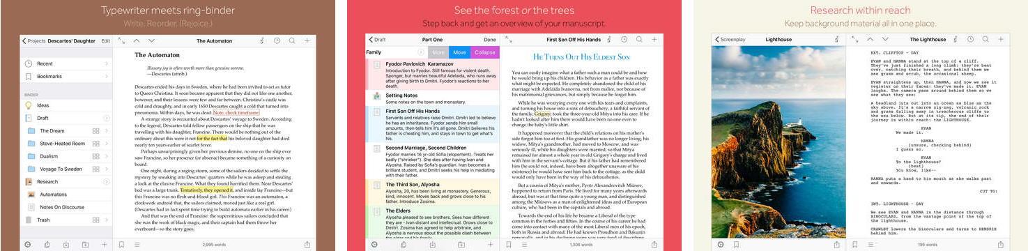 Scrivener 1.0 for iOS iPad screnshot 001