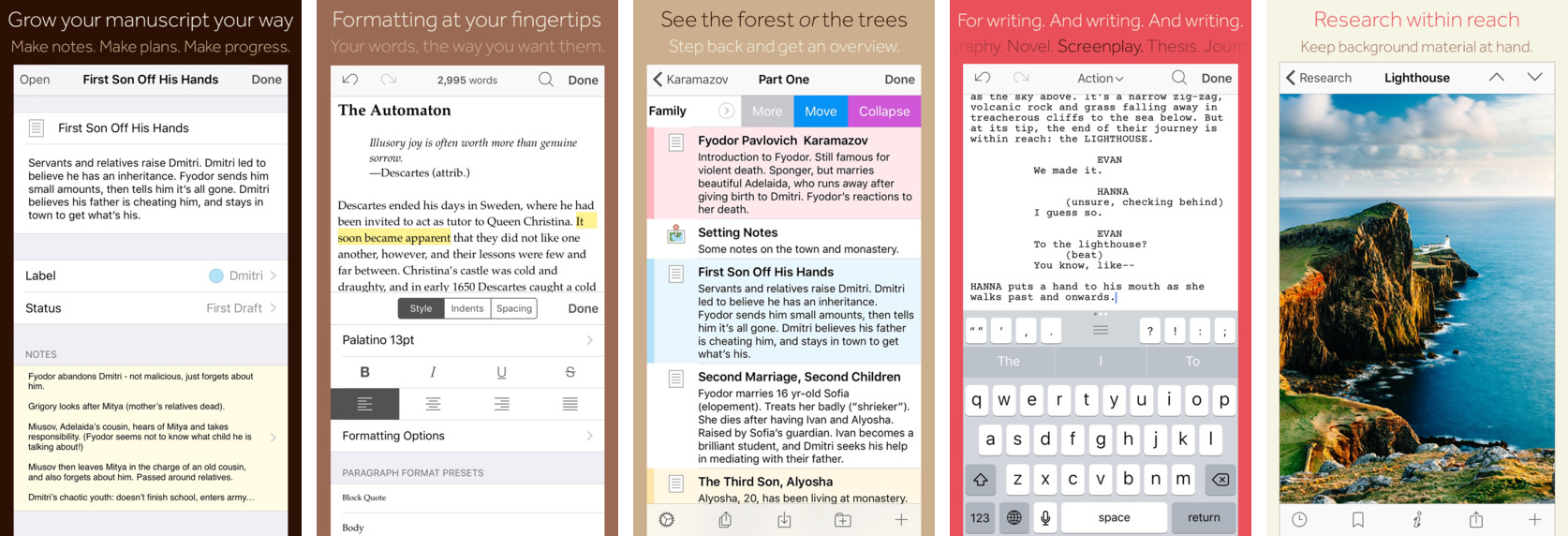 Scrivener 1.0 for iOS iPhone screnshot 001
