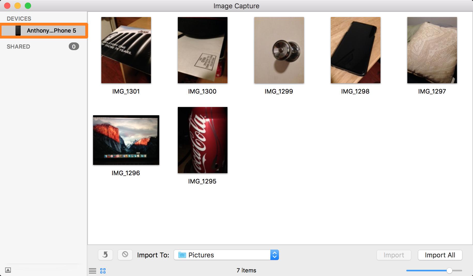 Seleccionar dispositivo de la barra lateral en Captura de imagen