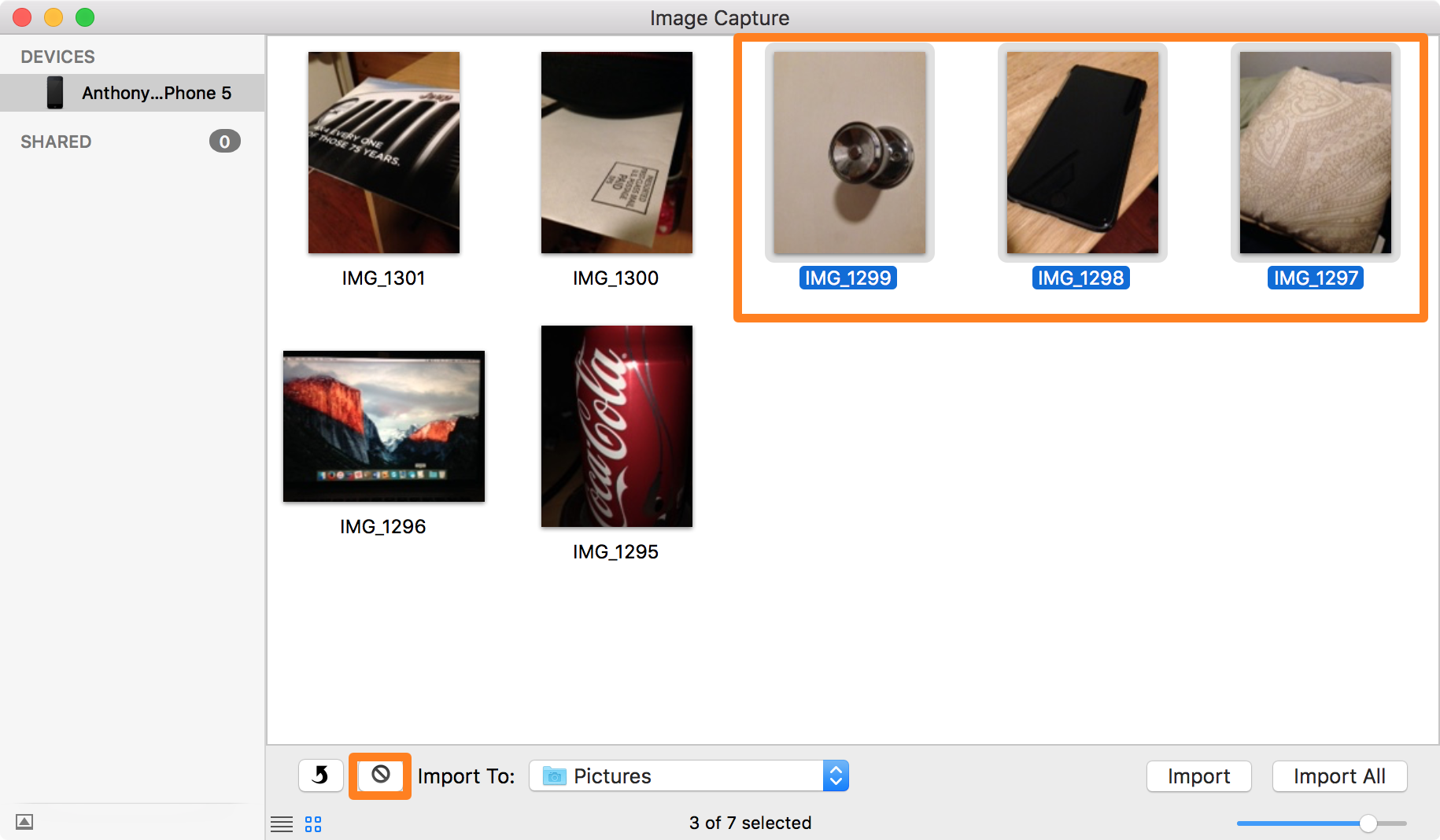Select photos and delete with Image Capture on Mac