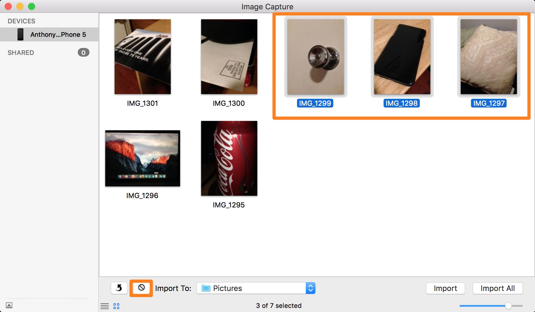 Seleccione fotos y elimínelas con Image Capture en Mac
