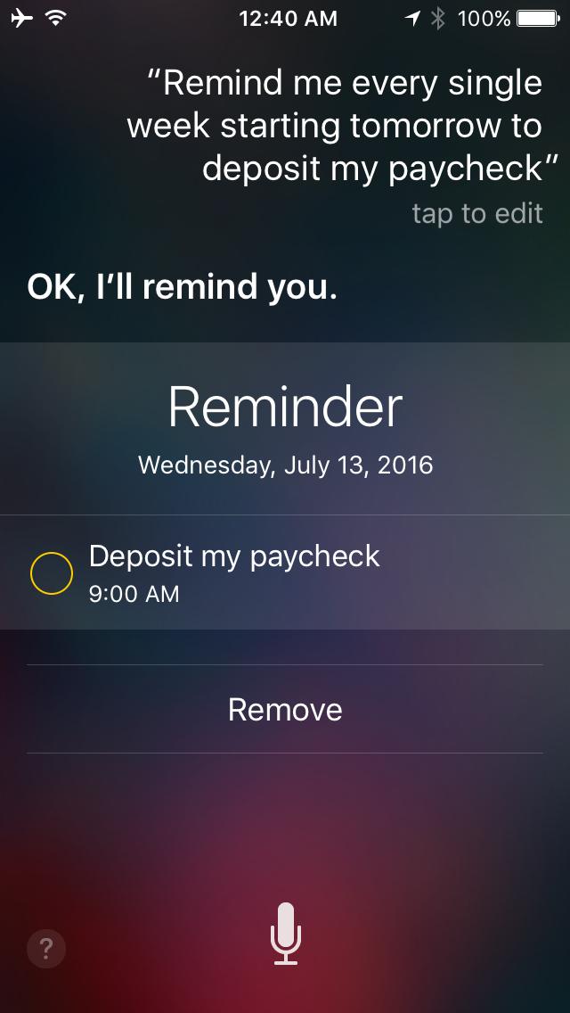 Siri Repeat Reminders