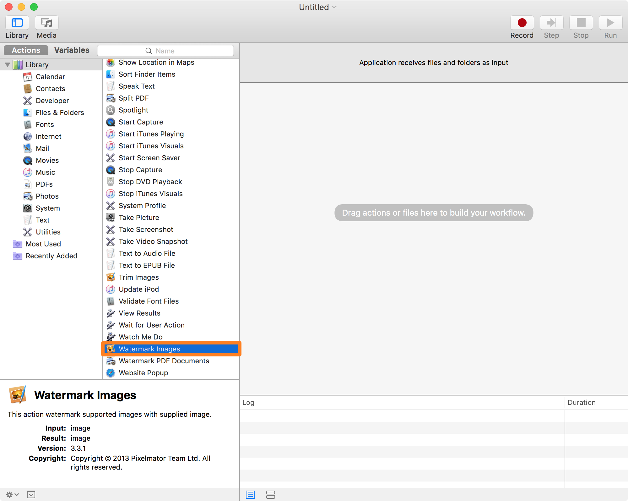 Watermark Images Action in Automator