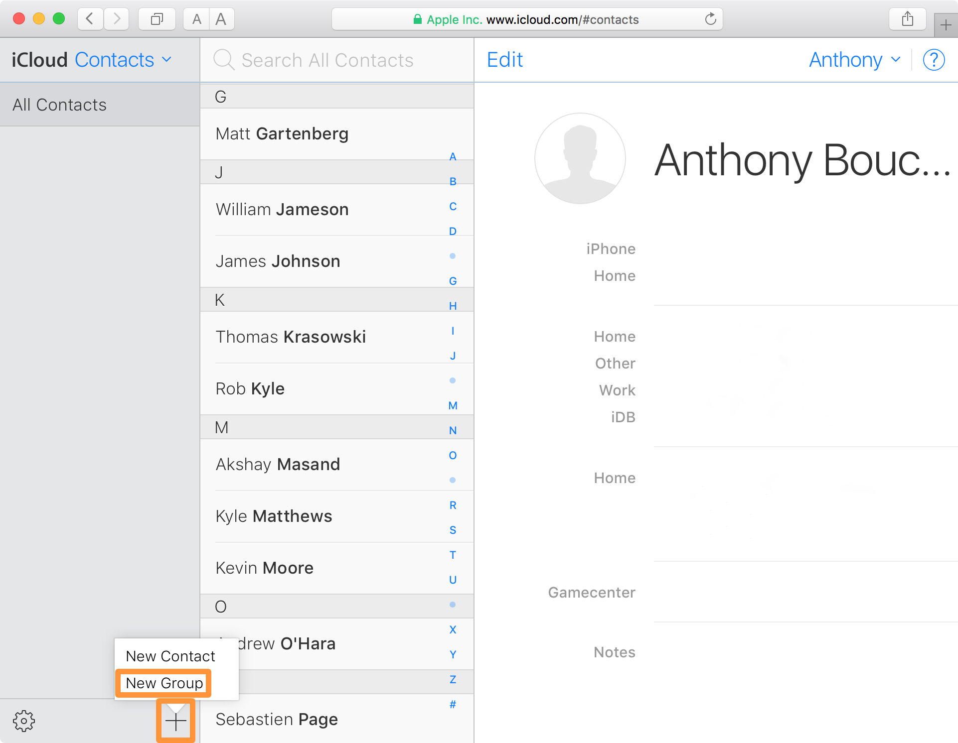 iCloud website new group contacts
