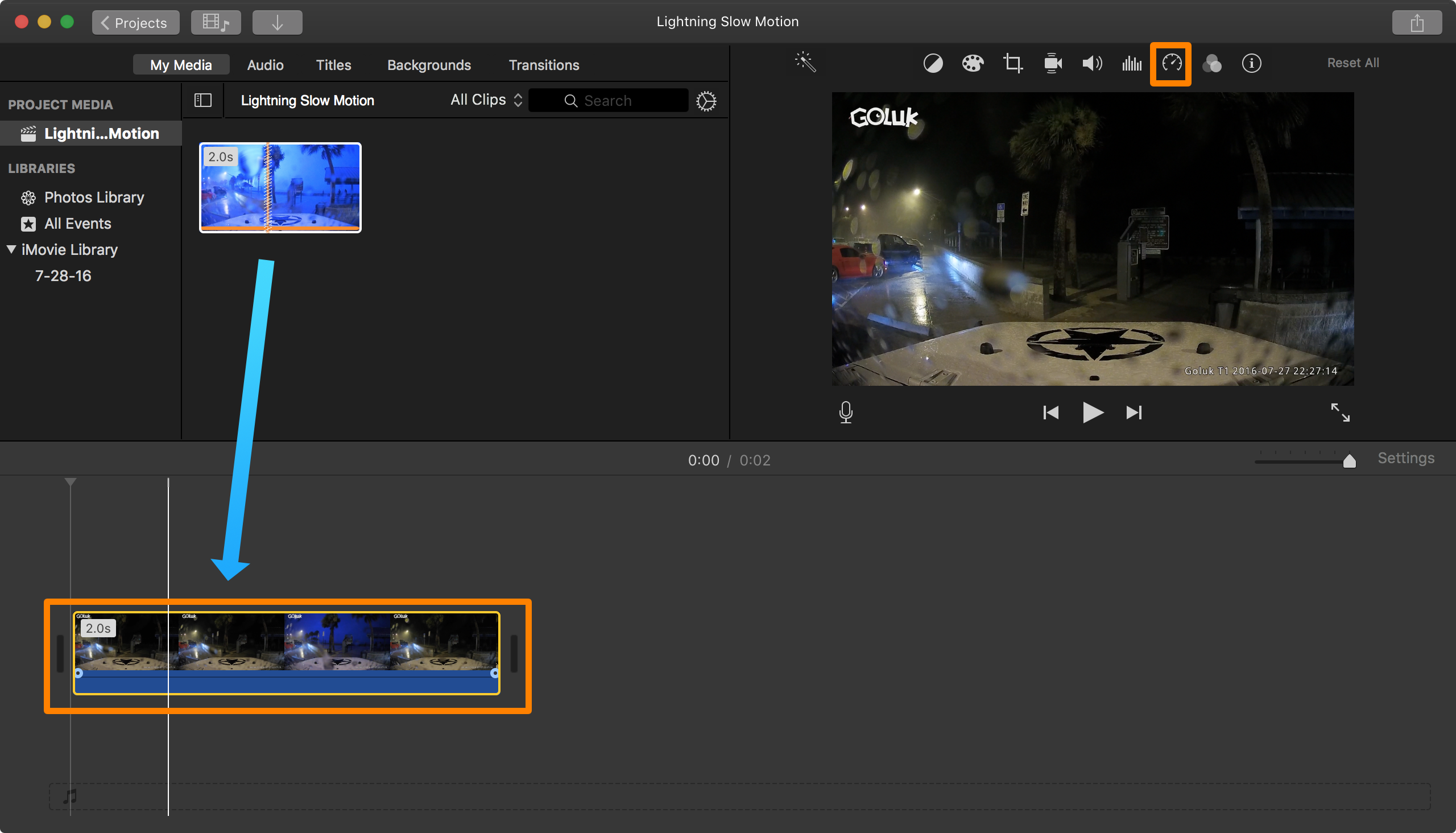 iMovie Add Clip to Timeline and Adjust Rate