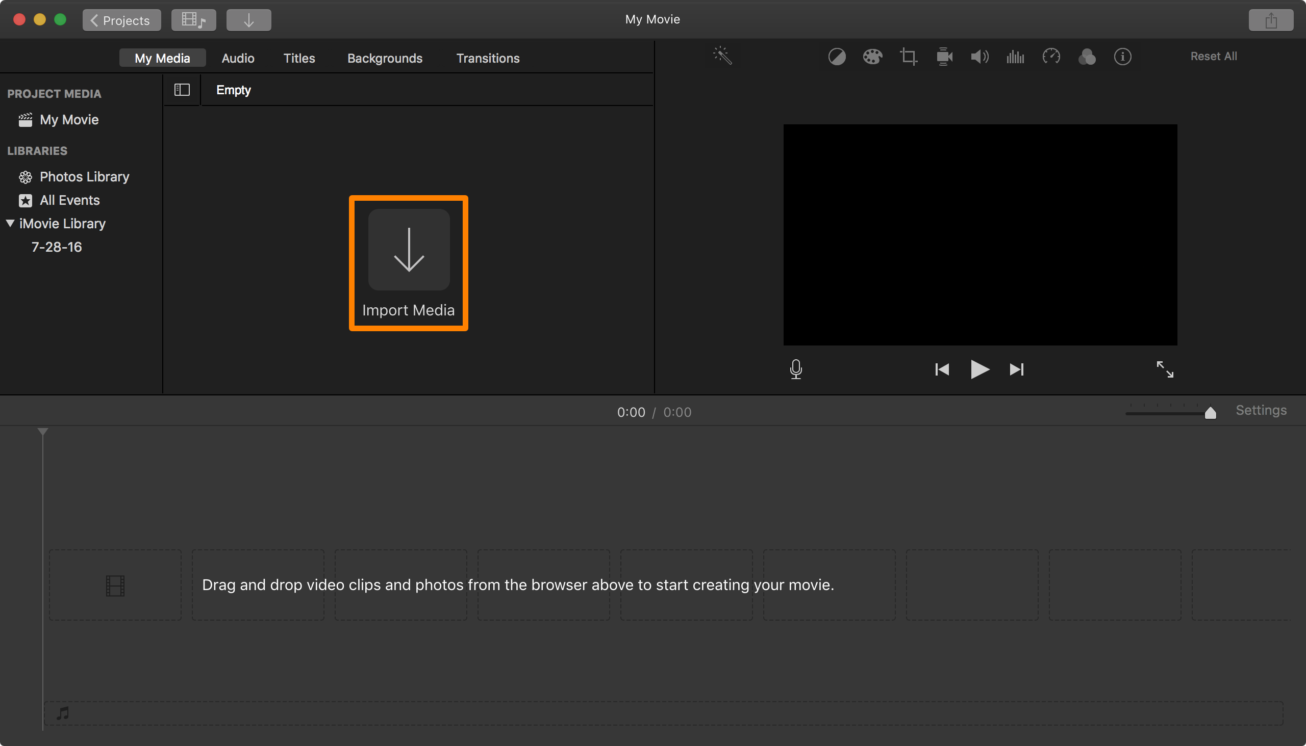 iMovie Import Media