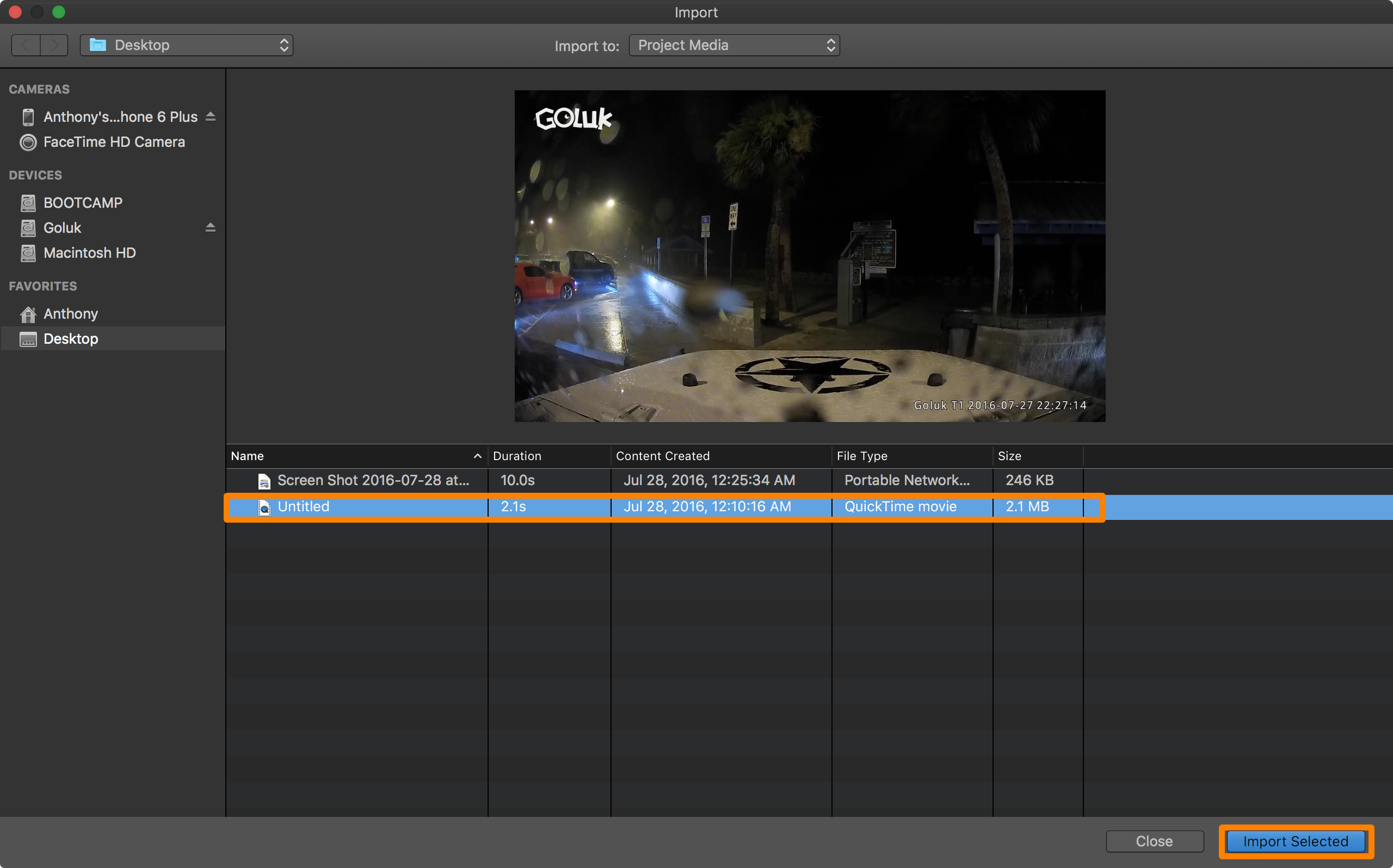 iMovie Import Selected Video
