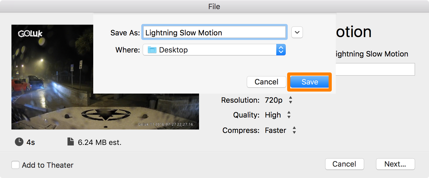 iMovie Save New Slow Motion Video