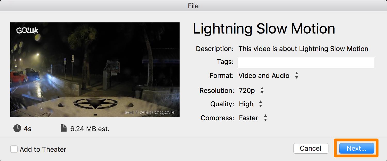 iMovie Slow Motion File Attributes