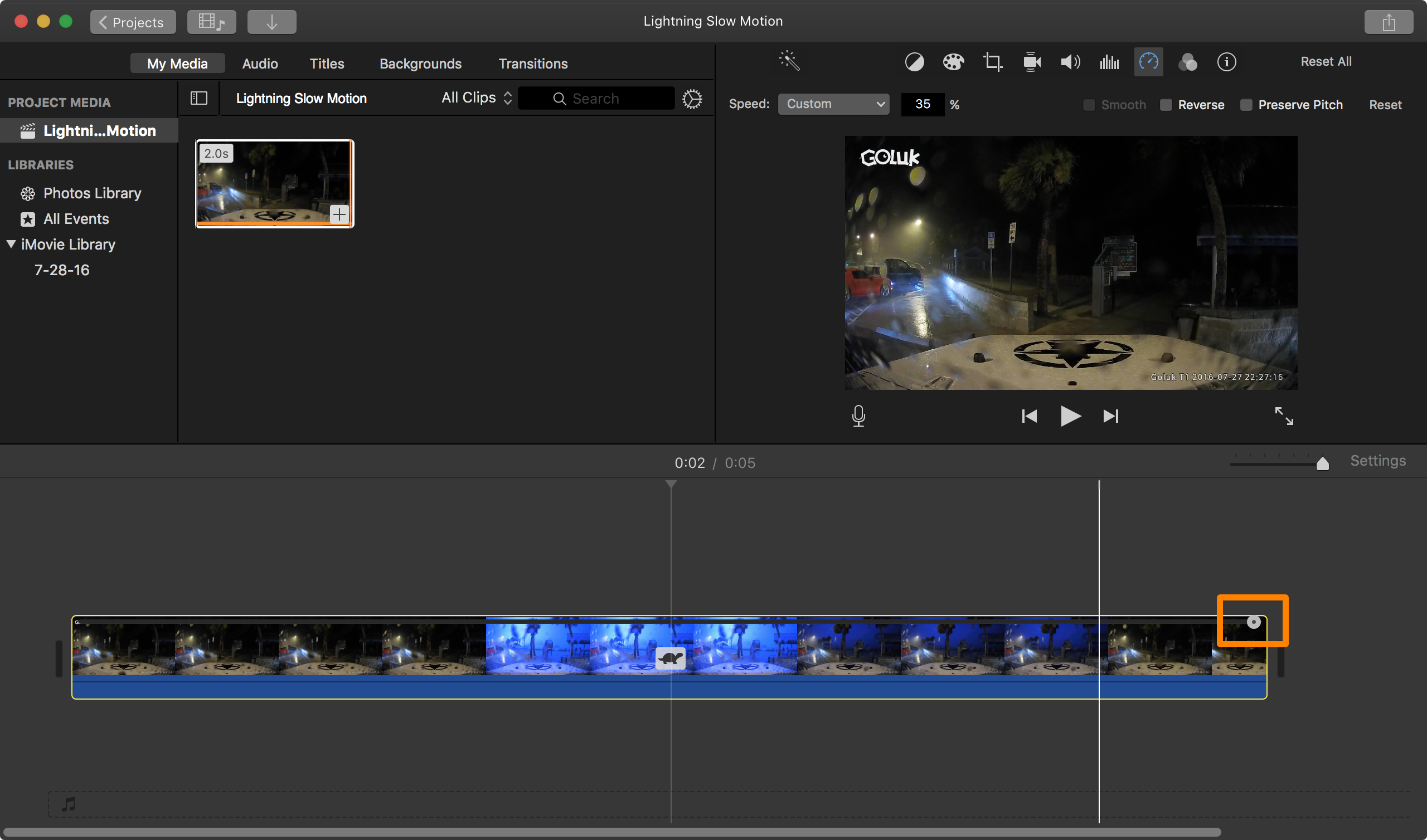 Converting a regular video to slow motion with iMovie on Mac
