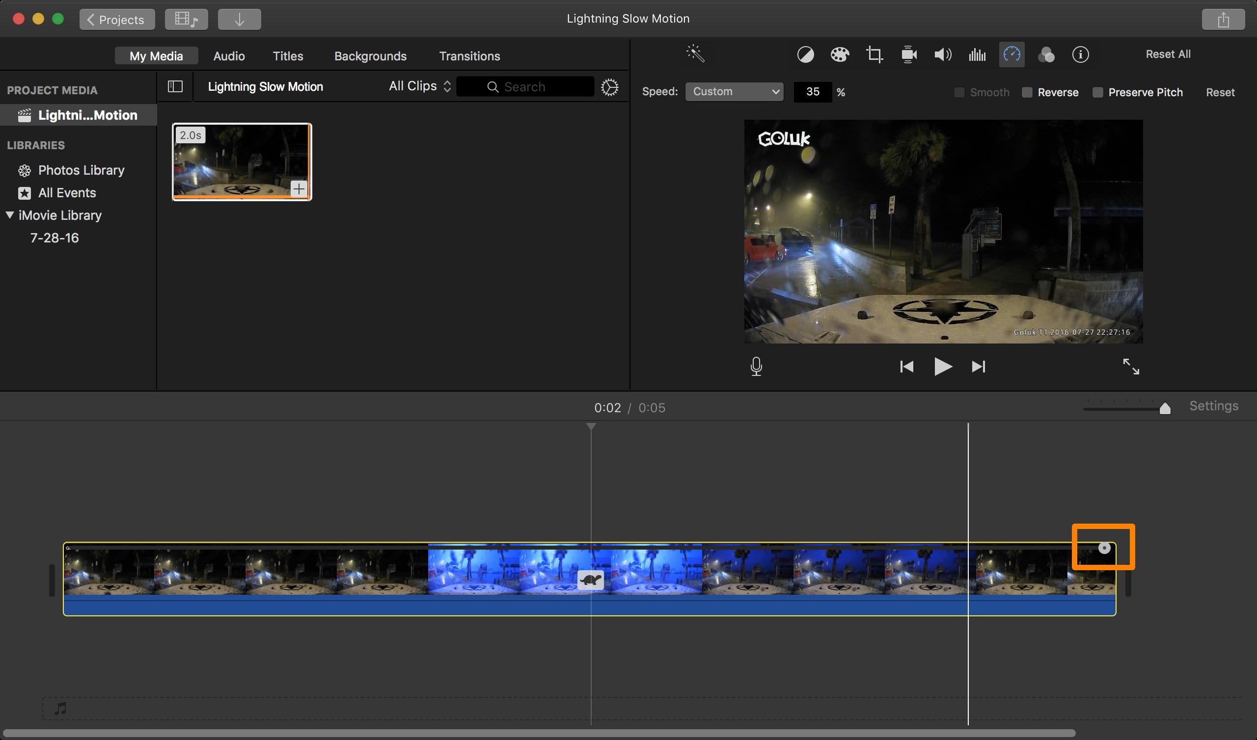 iMovie slow motion speed slider