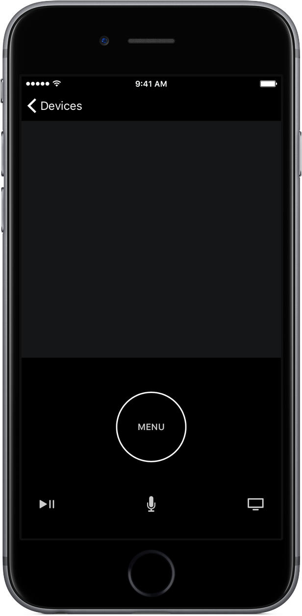 Captura de pantalla 001 del iPhone de la aplicación Apple Remote de iOS 10 gris espacial