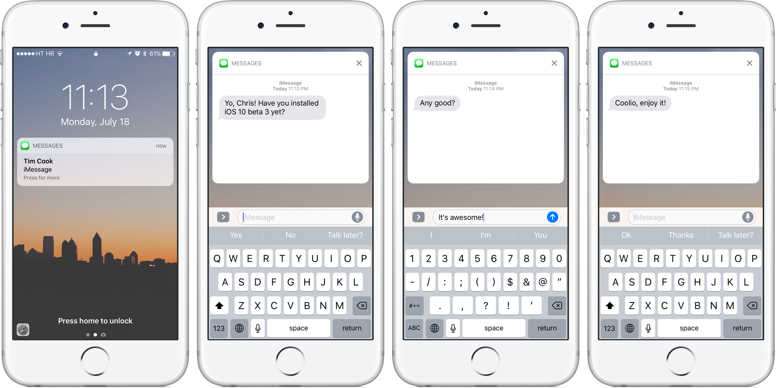 iOS 10 Lock screen Messages silver iPhone screenshot 001