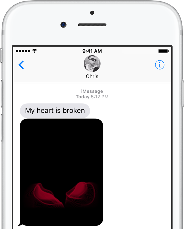 iOS 10 Messages Digital Touch broken hearts teaser silver iPhone screenshot 002