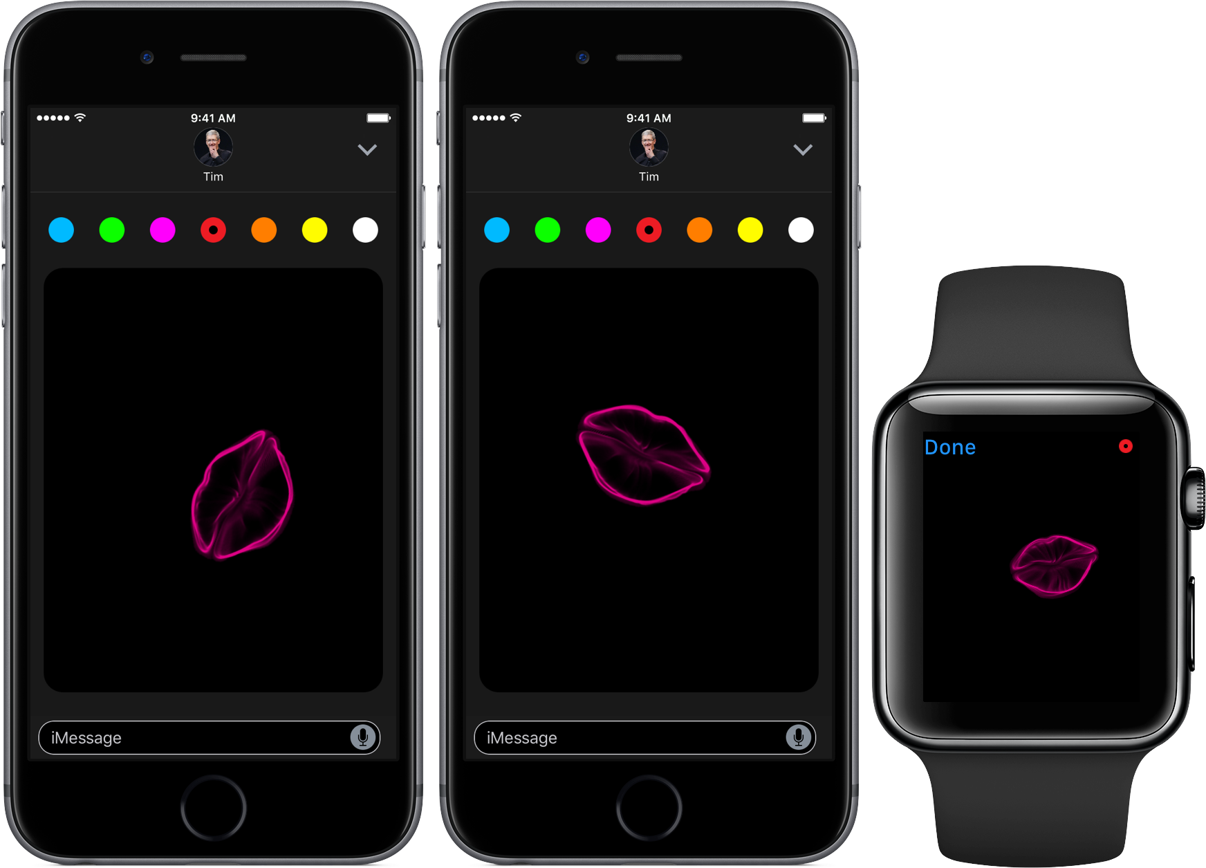iOS 10 Messages Digital Touch kisses space gray iPhone Apple Watch screnshot 001