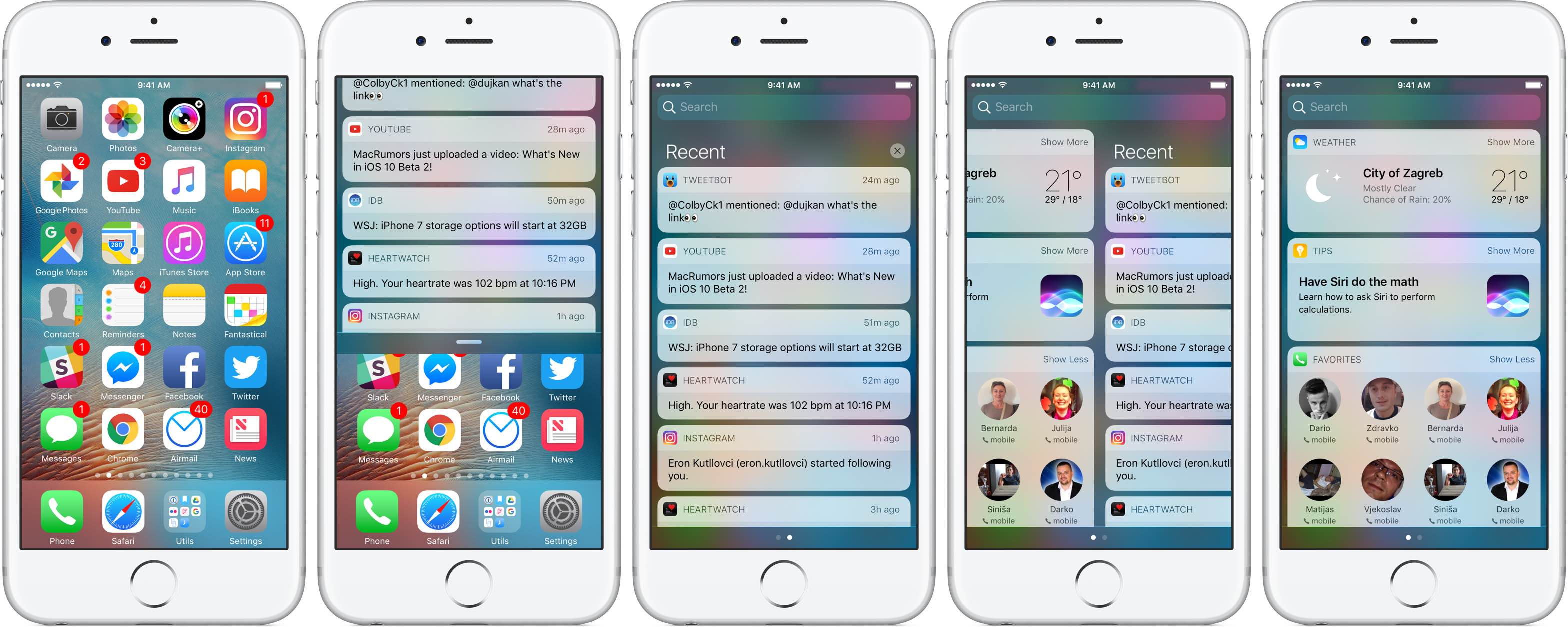 iOS 10 Notification Center Home screen silver iPhone screenshot 001