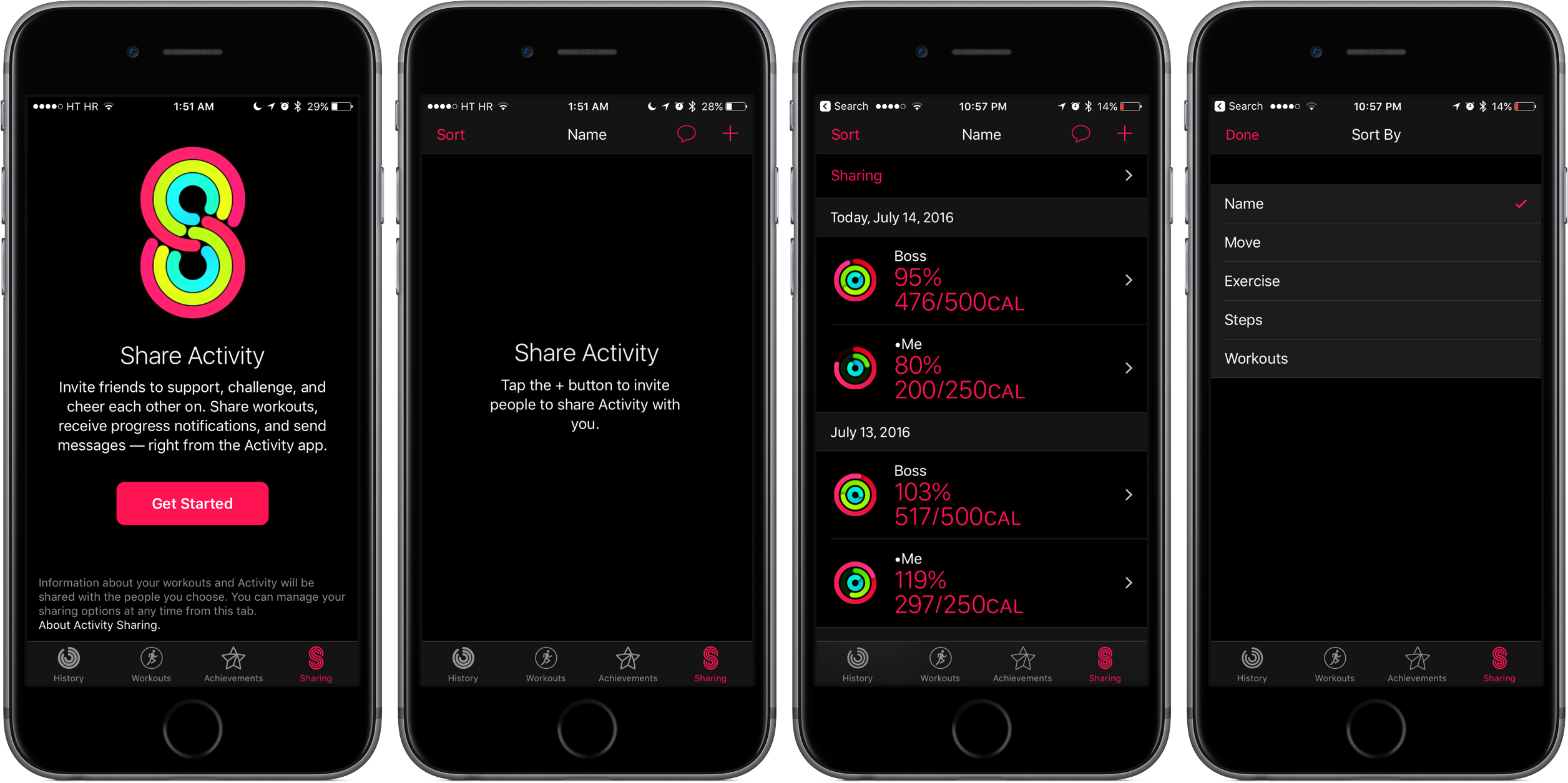 iOS 10 Watch app Activity sharing space gray iPhone screenshot 001