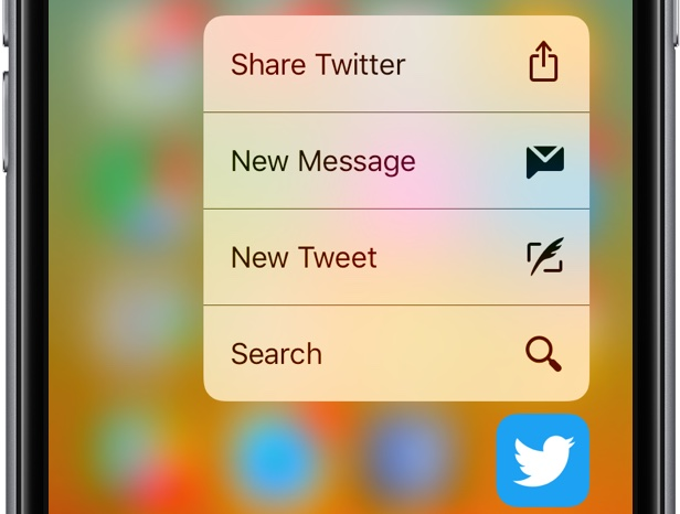 iOS 10 app sharing 3D Touch Twitter space gray iPhone screenshot 001