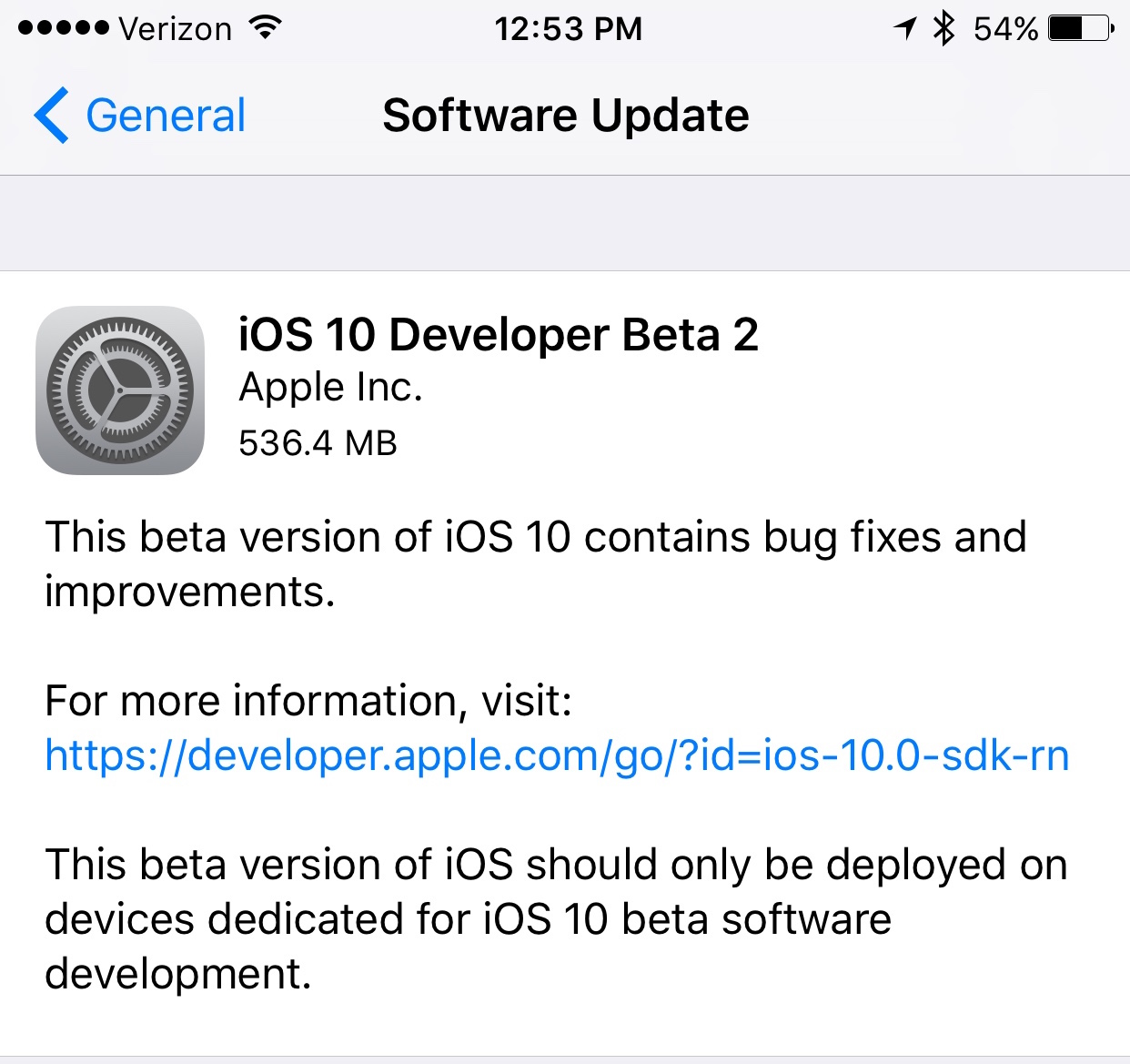 iOS 10 beta 2 update prompt iPhone screenshot 001