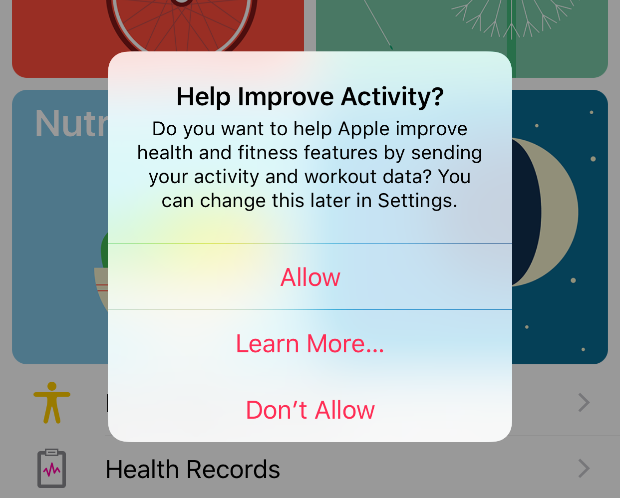 iOS 10 beta 3 Health app Activity sharing prompt