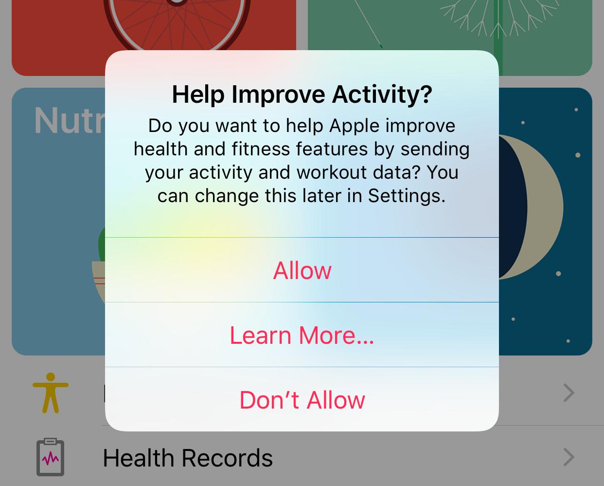 iOS 10 beta 3 Health app Activity sharing prompt