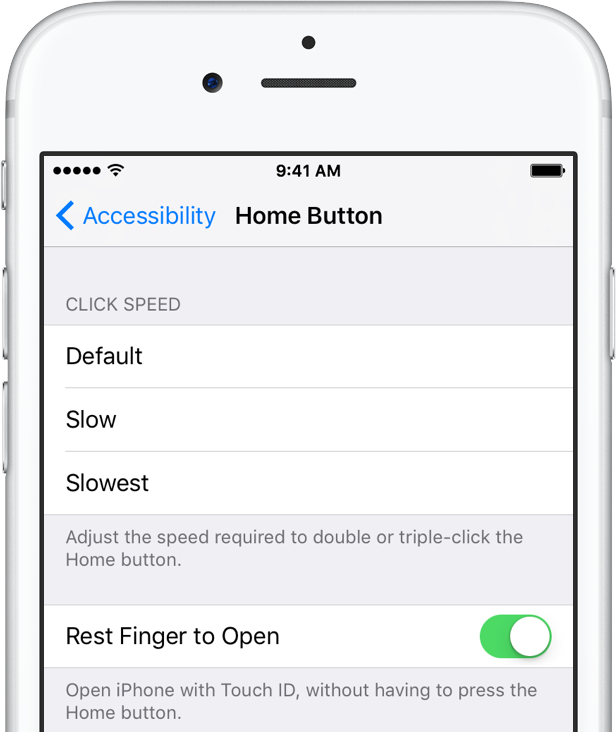 iOS 10 beta 3 Settings Rest Finger to Open silver iPhone screenshot 001