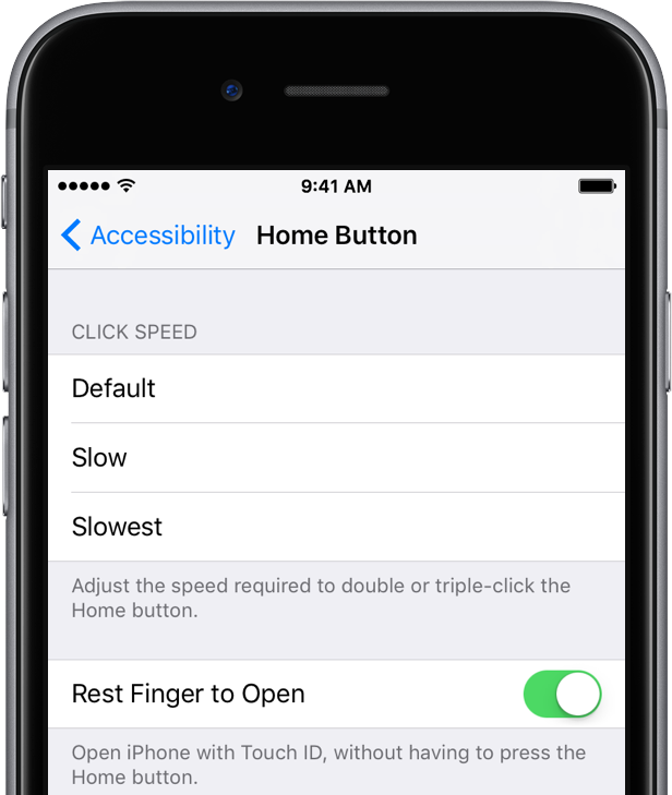 iOS 10 beta 3 Settings Rest Finger to Open space gray iPhone screenshot 001