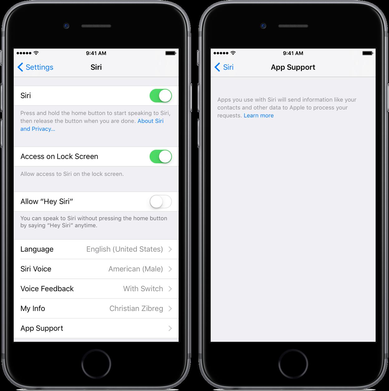 iOS 10 beta 3 Settings Siri App Support space gray iPhone screenshot 001