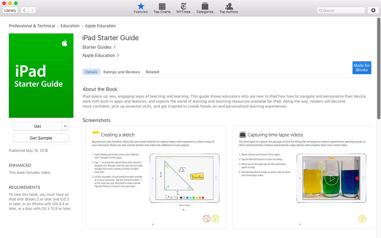 iPad Starter Guide iBooks Store listing Mac screenshot 001