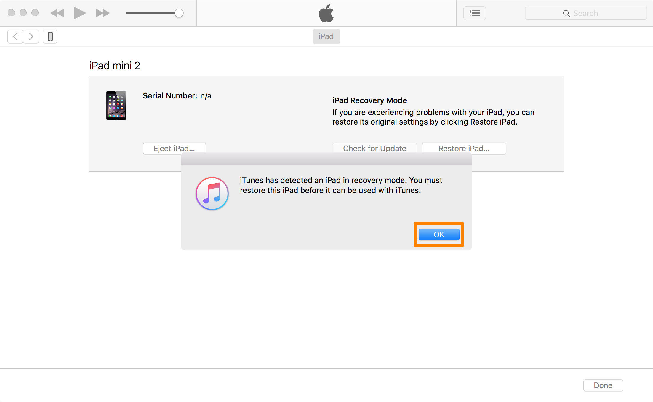 iTunes OK Restore Recovery Mode