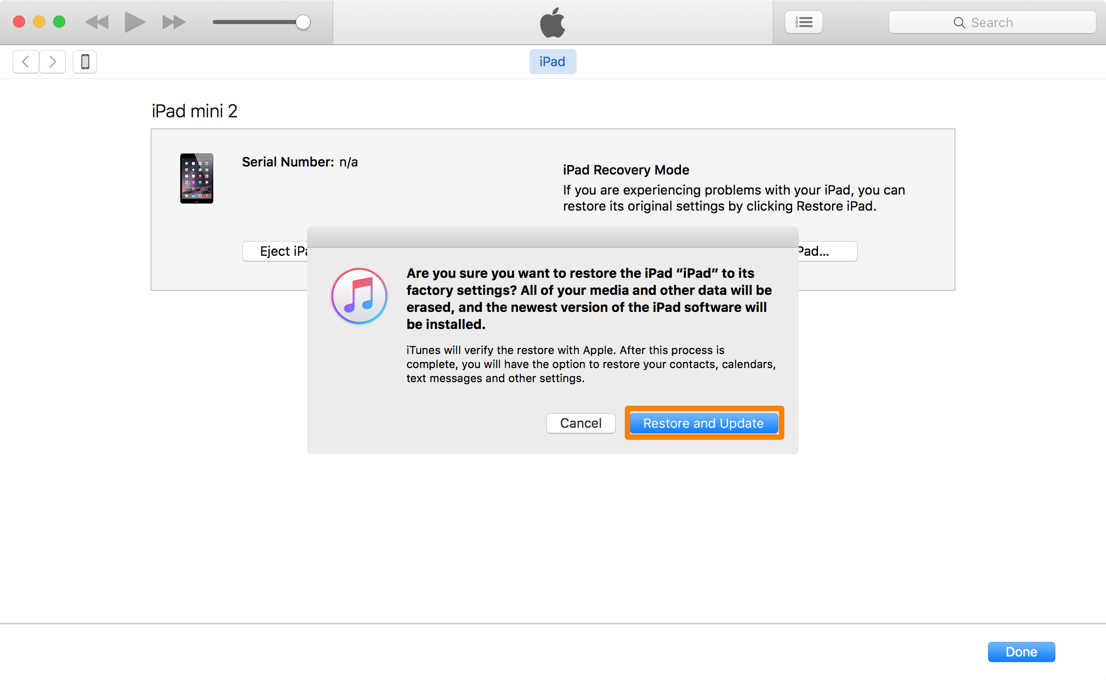iTunes Restore and Update