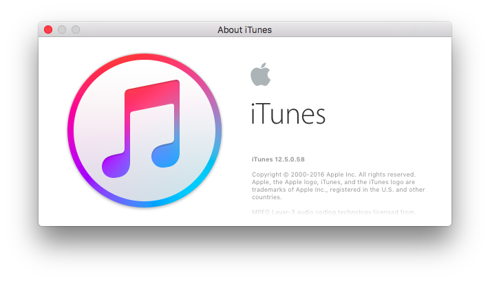 macOS El Capitan iTunes 12.5 about window screenshot 001
