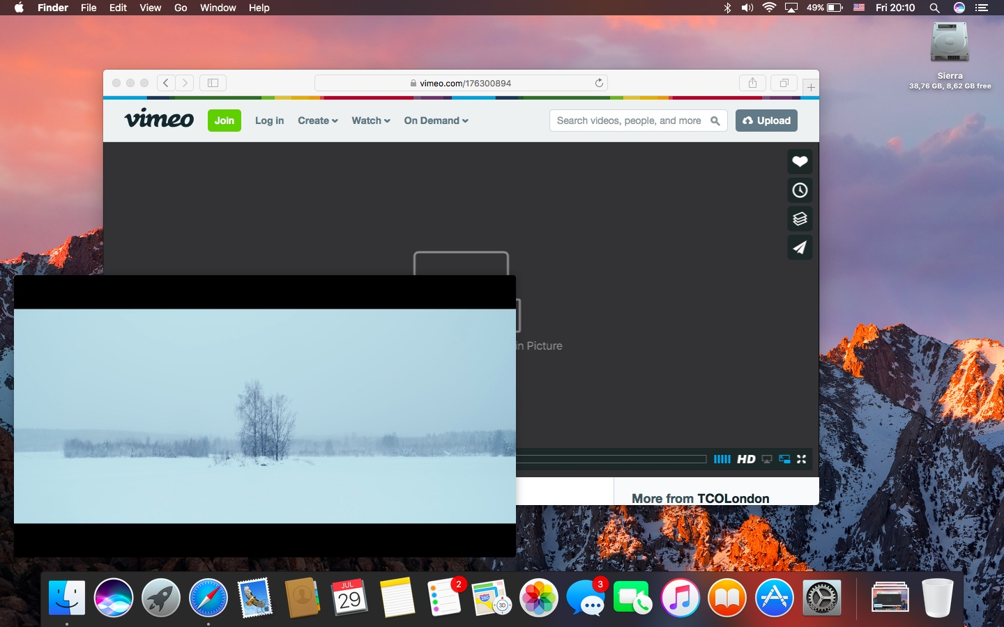 macOS Sierra Picture in Picture Vimeo Mac screenshot 006