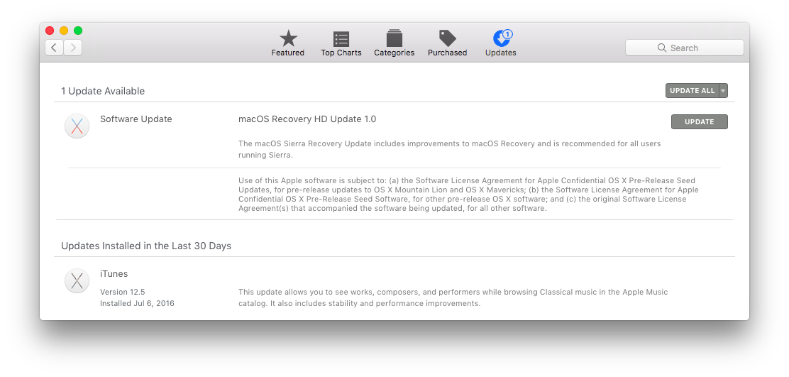 macOS Sierra Recovery HD Update prompt screenshot 001