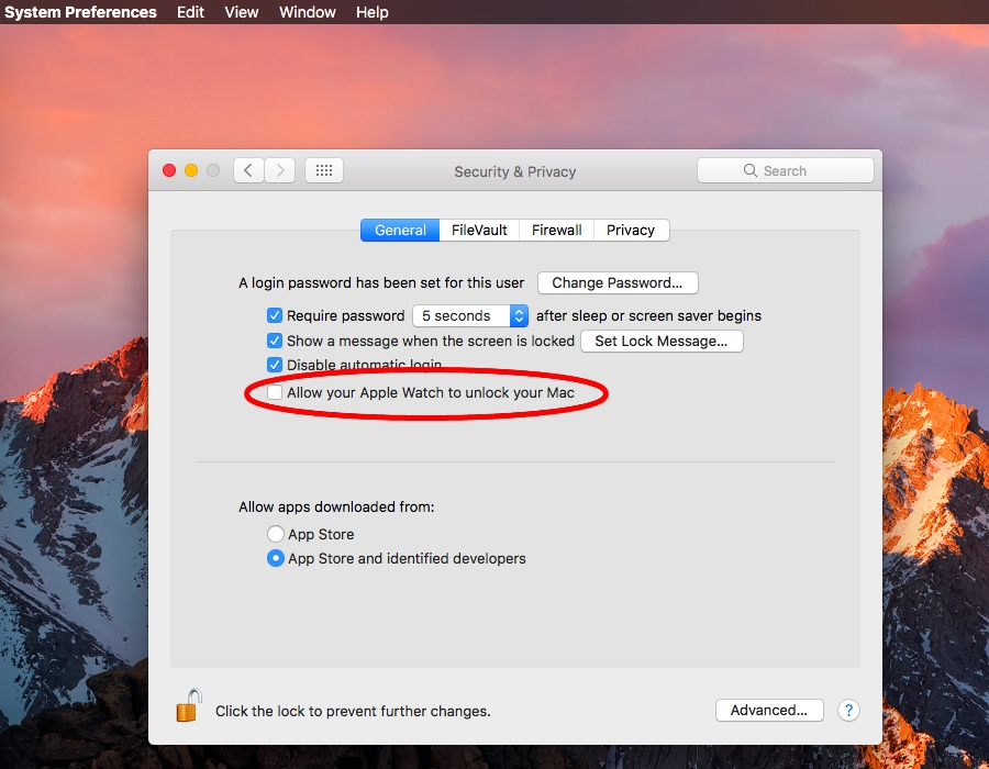 macOS Sierra System Preferences Auto Unlock MAc screenshot 001