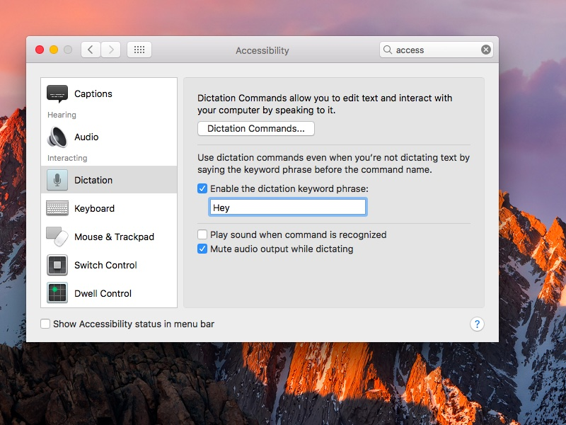 macOS Sierra System Preferences Dictation set Hey Siri command screenshot 001