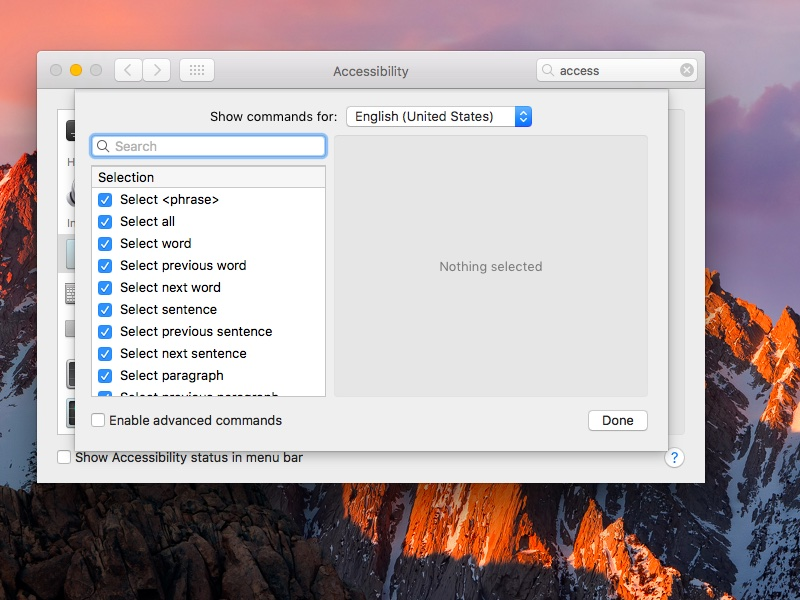 macOS Sierra System Preferences Dictation set Hey Siri command screenshot 002
