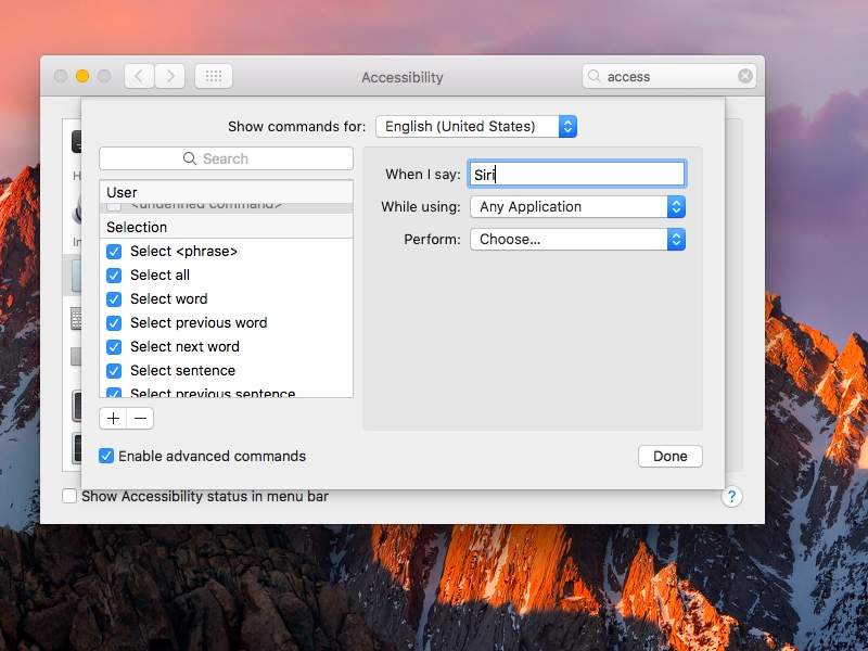 macOS Sierra System Preferences Dictation set Hey Siri command screenshot 003