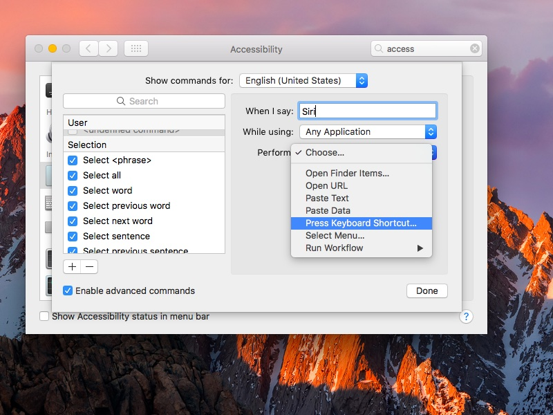 macOS Sierra System Preferences Dictation set Hey Siri command screenshot 004