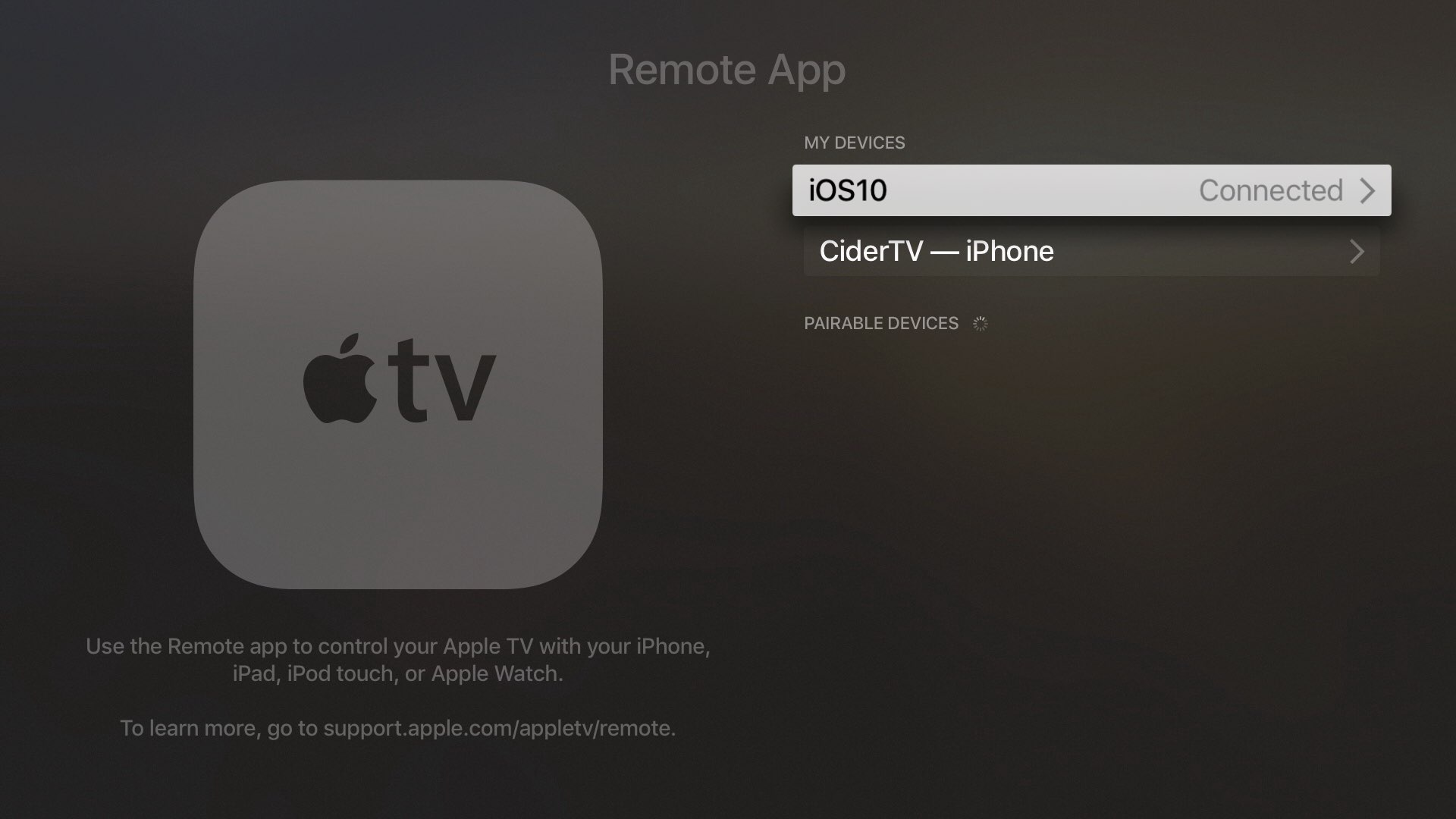 tvOS 10 Aplicación remota par Apple TV captura de pantalla 003