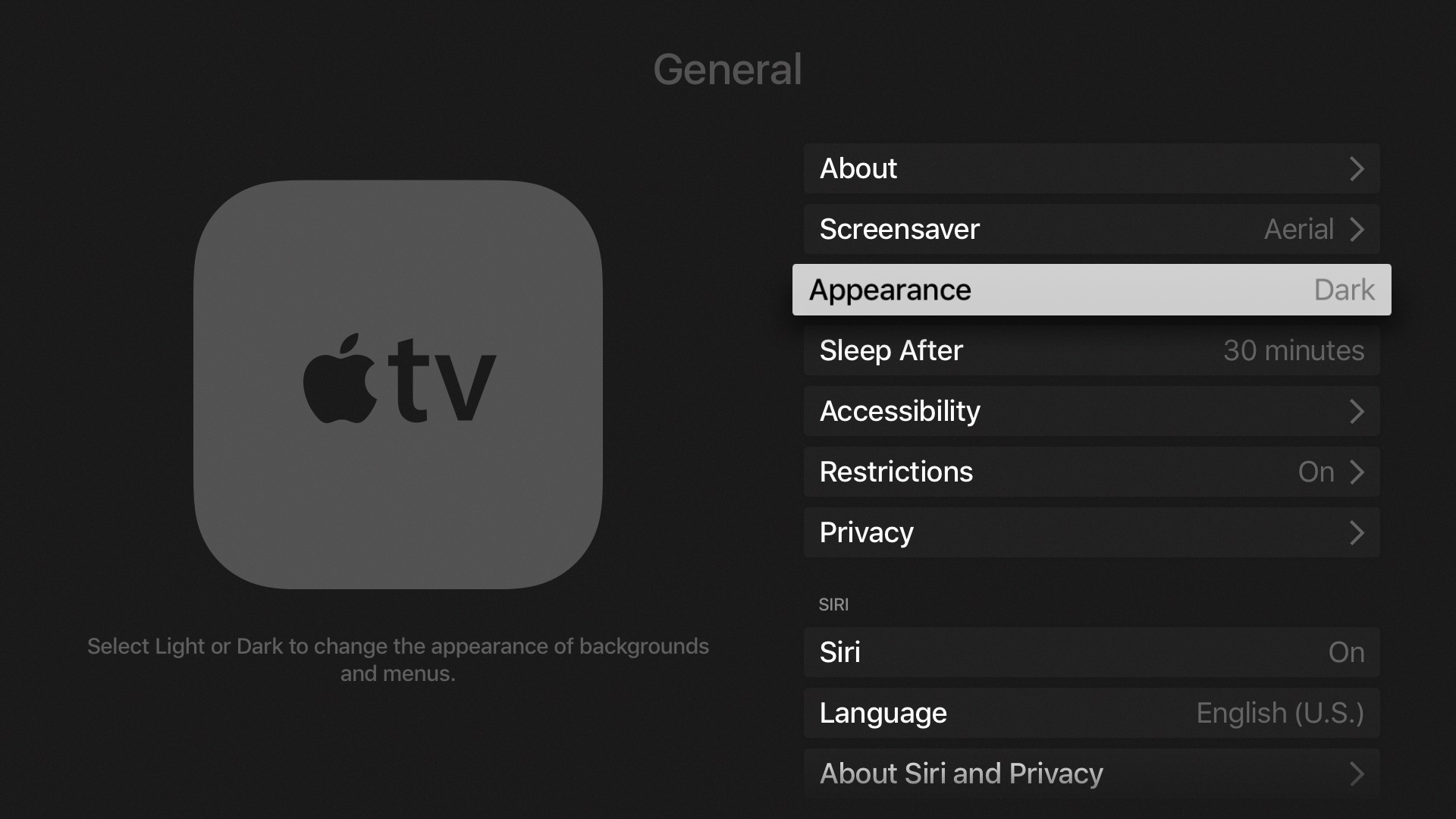 tvOS 10 Settings Dark Mode Apple TV screenshot 001