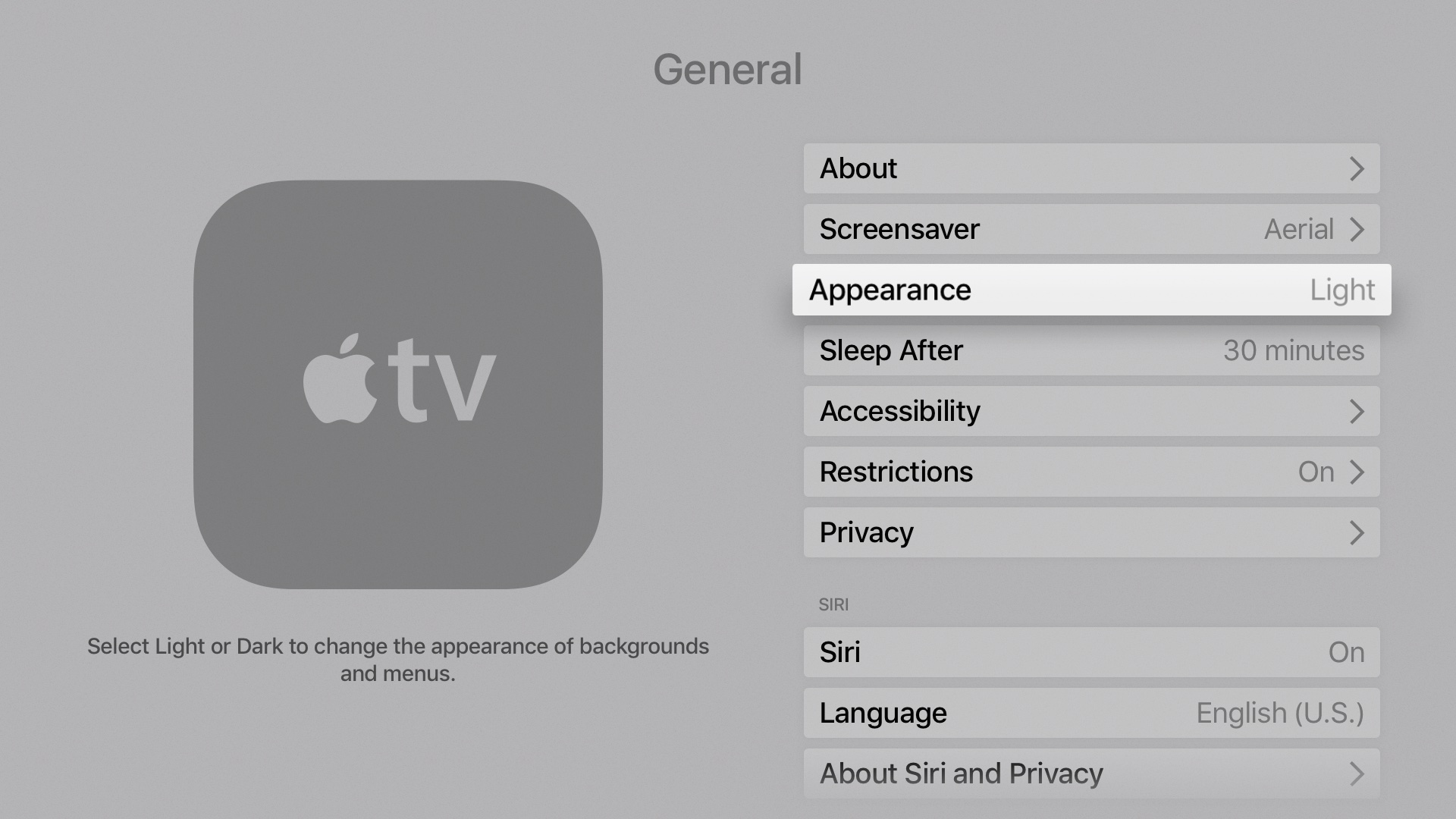 tvOS 10 Settings Light Mode Apple TV screenshot 001